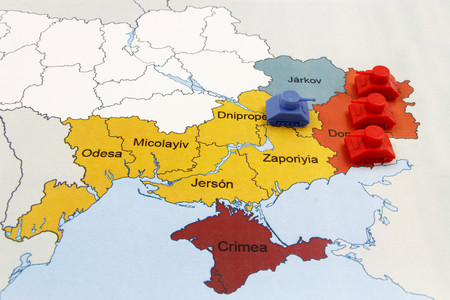 superiority: Map of War in Donbass, Ukraine with numerical Superiority of Russian Tanks