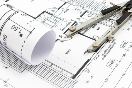 Architectural drawings of a house with compass Stock Photo