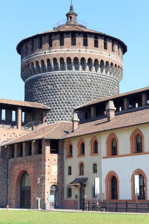 sforza: Tower of Sforza Castle in Milan Editorial
