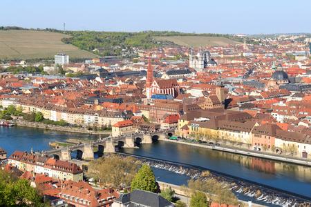 alte: Historic city of Wurzburg with bridge Alte Mainbrucke Germany