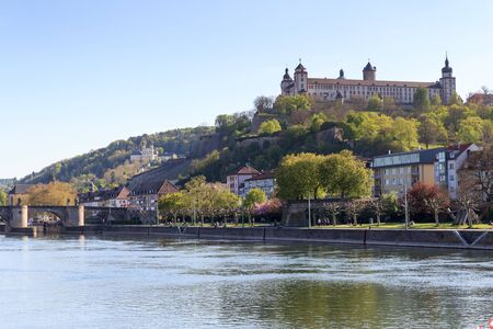 alte: Marienberg Fortress and Alte Mainbrucke in Wurzburg Germany Editorial