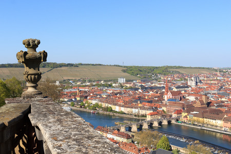 alte: Historic city of Wurzburg with bridge Alte Mainbrucke Germany