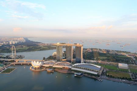 singapore skyline: Marina Bay Sands hotel, ArtScience museum and Singapore Flyer