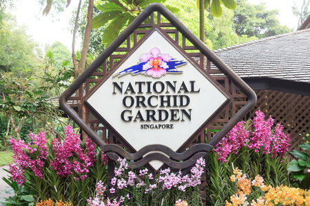 Singapore national orchid garden sign Stock Photo - 44332427