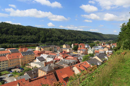 saxon: Cityscape of Bad Schandau in Saxon Switzerland Stock Photo