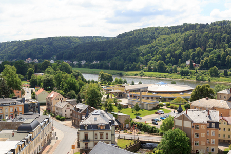 toskana: Cityscape of Bad Schandau with Toskana Thermal Baths in Saxon Switzerland