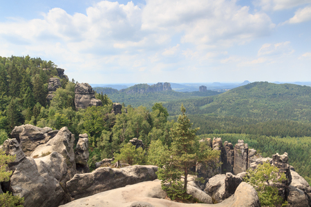 saxon: View from Carolafelsen towards Schrammsteine and Falkenstein in Saxon Switzerland