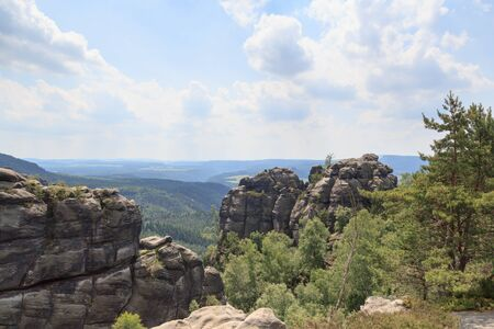 saxon: Panorama view from lookout near Reitsteig, Affensteine in Saxon Switzerland Stock Photo