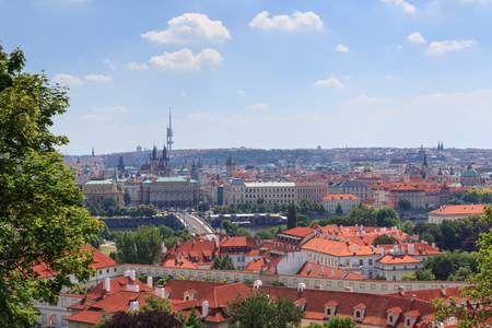 czechia: View of Prague cityscape with river Vltava in sunshine