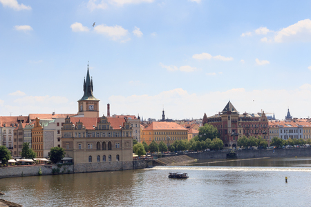 charles bridge: View from Charles Bridge towards Old Town Prague Stock Photo