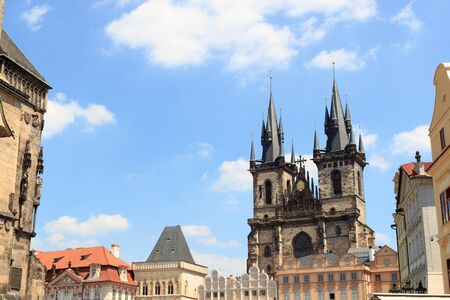 old town square: Church of Our Lady before Tyn and Old Town Square in Prague