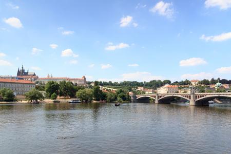 manes: Prague Castle and Manes Bridge in Prague Editorial