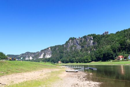 rock formation: Bastei rock formation and river Elbe in Rathen, Saxon Switzerland