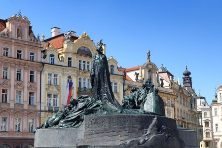 old town square: Jan Hus Memorial and Old Town Square in Prague