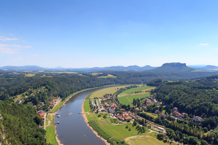 Panorama view from Bastei to river Elbe and table mountain Lilienstein and Rathen, Saxon Switzerland Stock Photo