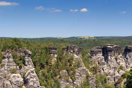 saxon: Panorama with typical rock pinnacles at Bastei in Rathen, Saxon Switzerland