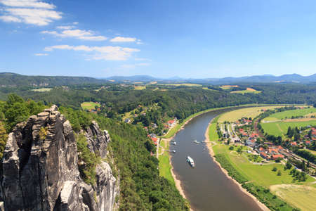 saxon: Panorama view from rocks Bastei to river Elbe and Rathen, Saxon Switzerland Stock Photo
