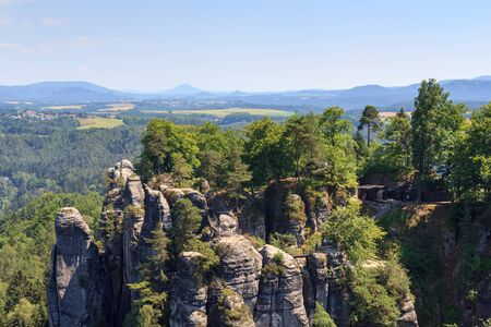 saxon: Neurathen Castle at rocks Bastei in Rathen, Saxon Switzerland Stock Photo