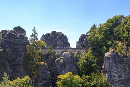 saxon: Bastei bridge on rocks in Rathen, Saxon Switzerland