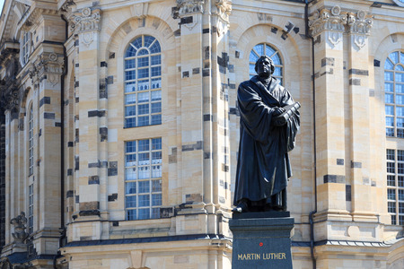 martin luther: Martin Luther monument on Neumarkt in front of Frauenkirche, Dresden Stock Photo