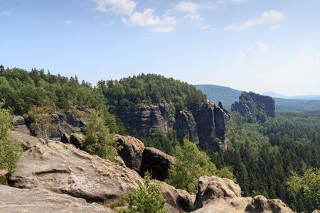 saxon: Panorama with rocks, mountains in Saxon Switzerland