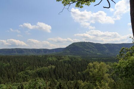 a panorama: Panorama with mountain Kleiner Winterberg and forest seen from Kuhstall in Saxon Switzerland