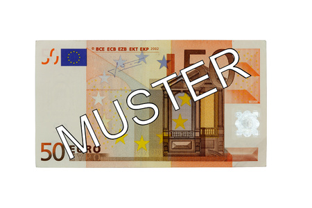 euro area: Specimen 50 Fifty euro bill banknote front with German lettering pattern - Money