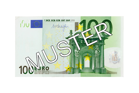 euro area: Specimen 100 One hundred Euro bill banknote front with German lettering pattern - Money