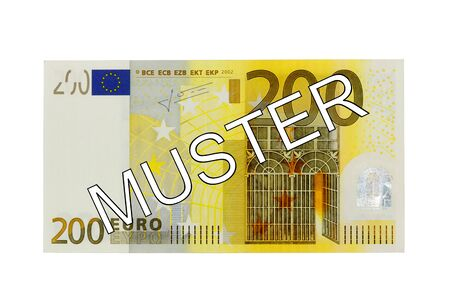 euro area: Specimen Two hundred 200 euro bill banknote front with German lettering pattern - Money