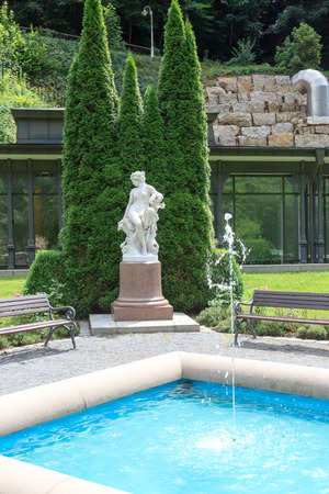 rehab: Fountain in spa gardens of Rehab clinic Kirnitzschtalklinik, Bad Schandau