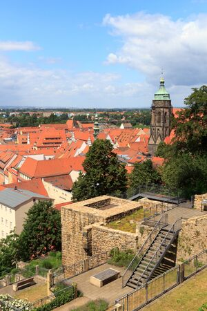 marys: View towards Pirna cityscape with St. Marys Church from Sonnenstein castle