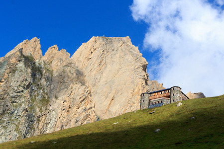 rote: Alpine hut Sajathutte and mountain Rote Saule in the Alps, Austria Editorial
