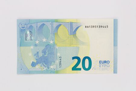 New twenty 20 euro banknote bill backside from the europe series