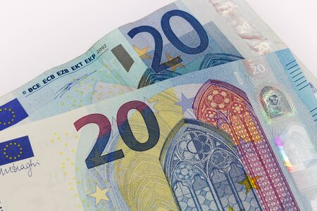 euro area: Old and New twenty 20 euro banknote bill front from the europe series Stock Photo