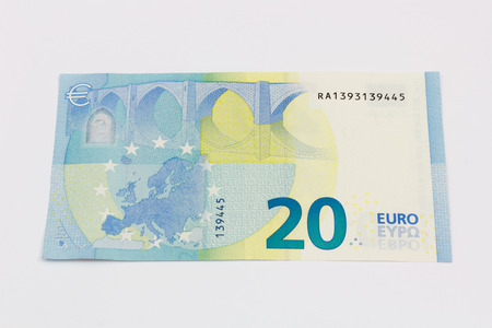 20 euro: New twenty 20 euro banknote bill back from the europe series