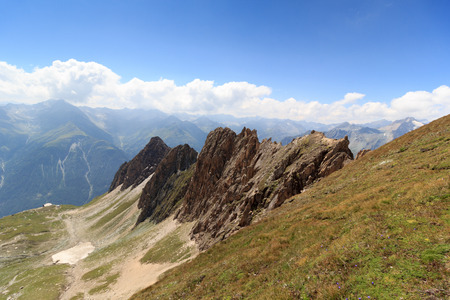 rote: Mountain panorama with Rote Saule and col Sajatscharte in the Hohe Tauern Alps, Austria