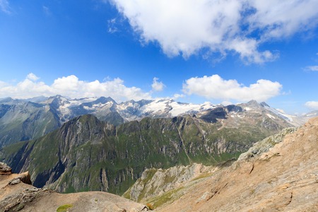 hohe tauern: Mountain glacier panorama with Dreiherrnspitze in the Hohe Tauern Alps, Austria Stock Photo