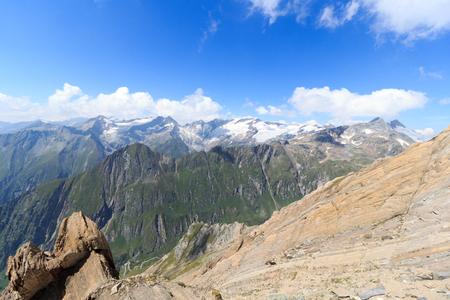 hohe tauern: Mountain glacier panorama with Dreiherrnspitze in the Hohe Tauern Alps, Austria Stock Photo