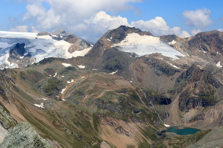 tauern: Mountain Weissspitze and lake Eissee in the Hohe Tauern Alps, Austria