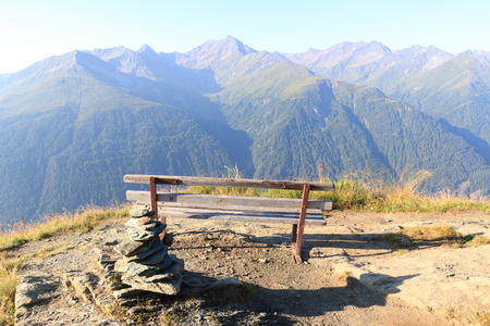 tauern: Panorama view with bench and mountain Lasorling in Hohe Tauern Alps, Austria