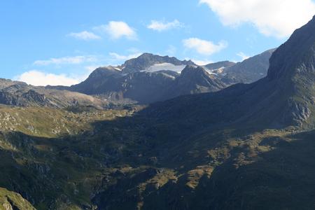 alpine hut: Mountain Weissspitze and alpine hut Eisseehutte in Hohe Tauern Alps, Austria Stock Photo
