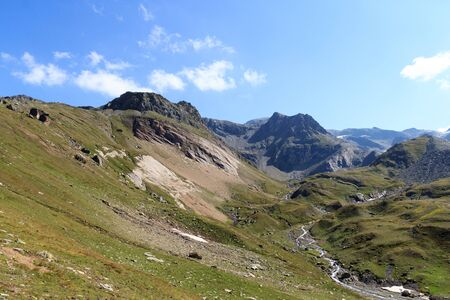 tauern: Mountain panorama and alpine stream in Hohe Tauern Alps, Austria