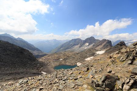 hohe tauern: Mountain panorama Kreuzspitze and Zopetspitze in Hohe Tauern Alps, Austria Stock Photo