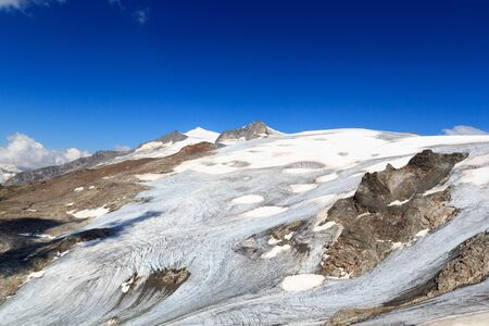 hohe tauern: Mountain glacier panorama with summit Grossvenediger south face in the Hohe Tauern Alps, Austria