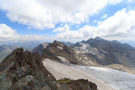hohe tauern: Glacier panorama with mountain Grosser Hexenkopf and Hocheicham in Hohe Tauern Alps, Austria Stock Photo
