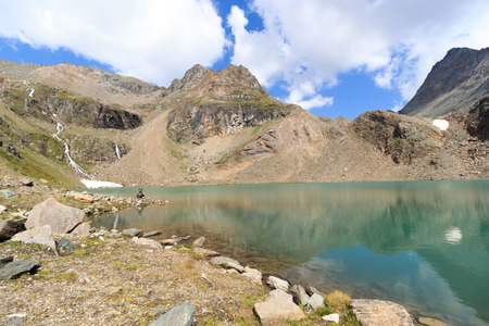 hohe tauern: Lake Eissee and mountain panorama in Hohe Tauern Alps, Austria