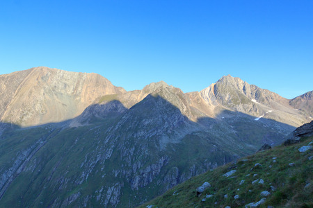 tauern: Panorama with mountain Zopetspitze at sunrise in Hohe Tauern Alps, Austria