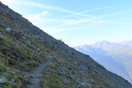 hohe tauern: Footpath and mountain panorama in Hohe Tauern Alps, Austria Stock Photo