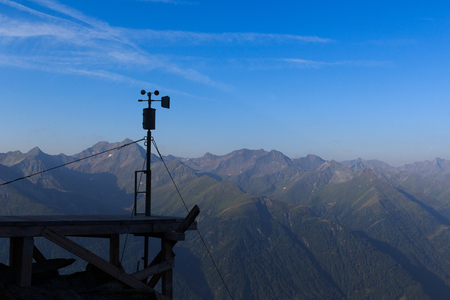 hohe tauern: Weather station and mountain panorama in Hohe Tauern Alps, Austria