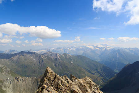 tauern: Panorama view with mountain Grossglockner and glaciers in Hohe Tauern Alps, Austria